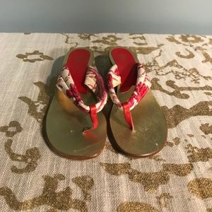 Vintage Gucci Sandal Thong Red pattern with gold